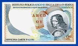 """Italy I.P.Z.S. """"Volto Femminile"""" Specimen Test Note Istituto Poligrafico E Zecca Di Stato UNC - Specimen"""