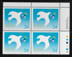 CANADA 1986, # 1110, INTERNATIONAL YEAR Of PEACE,  DOVE PROTECTING  EARTH  MNH  UR - Blocs-feuillets