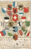 Suisse - Blasons Suisses  Cantons  Positions Géographiques Carte Gaufrée  CPA 1900 - Cartes Géographiques