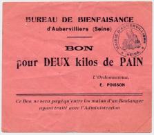 AUBERVILLIERS // BUREAU De BIENFAISANCE // Bon Pour Deux Kilos De Pain - Bons & Nécessité