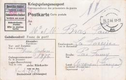 POSTKARTE KRIEGSGEFANGENENPOST  ENVOYEE PAR BRAS GASTON A SES PARENTS A LA FOREZIE PAR FIRMY  02/1944 - Marcophilie (Lettres)