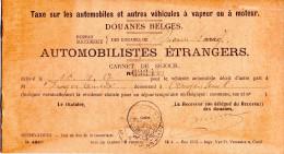 Fiscal, Fiscaux, Taxe Sur Les Automobiles Douanes Belges Pour Une Automobile DELAGE 1928, Voir 3 Scans - Autres