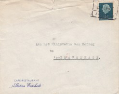 Envelop 21 Jan 1959 Enschede Amsterdam H (spoor Blokstempel ) Uit Restaurant Station Enschede - Poststempels/ Marcofilie