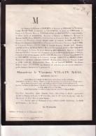 Kasteel LEUTH LIMMBURG Vicomte Vilain XIIII Ministre D'ETAT Congrès National 1802-1878 Doodsbrief Député - Todesanzeige