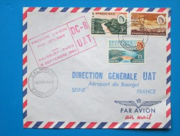 1960 Rhodesia & Nyasaland - First Flight By DC8, Salisbury To Paris - Franked With 3 R&N Kariba Dam Stamps (Aviation) - Rhodesien & Nyasaland (1954-1963)