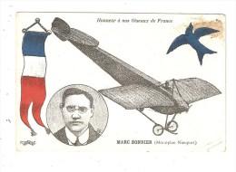CPA Aviation Honneur à Nos Oiseaux De France Marc Bonnier Monoplan Nieuport - Drapeau - Illustrations - Aviation
