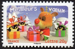 France Autoadhésif N°  101 ** Ou 3990 - Meilleurs Voeux 2007 - Renne Avec Paquet Et Manchots Dans Des Paquets Cadeaux - Sellos Autoadhesivos