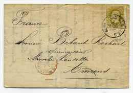 Lettre De GOSSELIES Pour La France / 30 Sept 1878 / Marque D'entrée En France  Belgique Ambulant Par Valenciennes - 1869-1883 Leopold II
