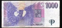 REPUBLIQUE TCHEQUE 1000 COURONNES , TYPE PALAGKY - Repubblica Ceca