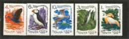 Héron Crabier,Le Plongeon Huard,Foulque Macroule,macareux Moine,etc.  5 T-p Neufs ** Série Complète - Birds