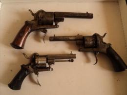 Lot De 3 Revolvers à Broches à Completer Et Reviser - Armi Da Collezione