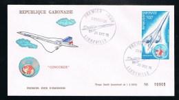 Concorde Air France - Offizieller FDC - Inliniendienstellung Brasilien (208) - Gabun (1960-...)