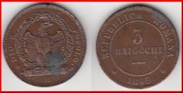**** ITALIE REPUBLIQUE ROMAINE - ITALIA REPUBLICA ROMANA - 3 BAIOCCHI 1849 DIO E POPOLO - 3 PLAT **** ACHAT IMMEDIAT - Monedas Regionales