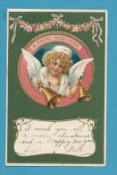 CPA Gaufrée Embossed Angelot Ange Angel Cloche Bonne Année - Angels
