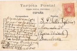 15617. Postal SELVA De MAR (Gerona) 1903. AMBULANTE Ferrocarril - Cartas