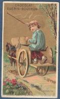 Chromo Chocolat Guerin-Boutron Doré Or Litho Minot Enfant Garcon Garconnet Jouet Le Charretier Charriot Charrette Cheval - Guerin Boutron