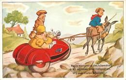 V-15 - 237 : LE SIDE-CAR EN PANNE  TIRE PAR UN ANE - Motorbikes