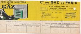 Quittance Illustrée  02/1940 Compagnie Du Gaz Paris - Electricité & Gaz