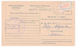 1946.AISNE Mairie De LAPPION. Carte De Ravitaillement Général. CP + Timbre Franchise.   / 71 - Poststempel (Briefe)