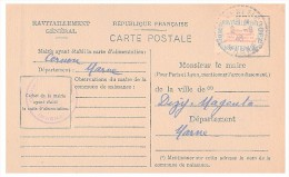1946.MARNE Mairie De CERNON. Carte De Ravitaillement Général. CP + Timbre Franchise.   / 89 - Guerre De 1939-45