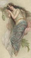 Splendide Illustration. Jeune fille endormie parmi les  fleurs et voiles transparents. Carte lumineuse, gaufr�e. 3 scans