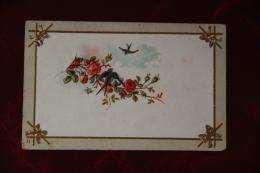 Carte En Relief Hirondelles Et Roses - Fantaisies