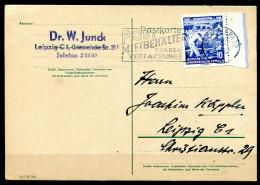 "DDR 1956 Bedarfskarte/Card Mit Mi.Nr.482 U.Propaganda-MWST""Leipzig BPA 32-POSTMIETBEHÄLTER Sparen VERPACKUNG""1 Beleg - [6] République Démocratique"