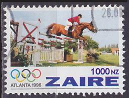 Timbre Oblitéré N° 1418(Yvert) Zaïre 1996 - JO Atlanta, équitation, Saut D´obstacles - Zaïre