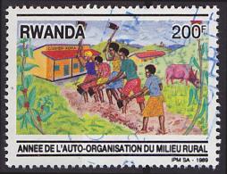 Timbre Oblitéré N° 1420(Michel) Rwanda 1989 - Auto-organisation Du Milieu Rural - Rwanda
