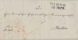 Brief L2 Dahme 22.9.1830 Mit Inhalt Gelaufen Nach Berlin - Deutschland