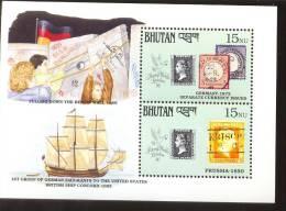 MNH BHUTAN # 913 : SOUVENIR SHEET STAMPS OLD STAMPS ; PENNY BLACK ; POSTAL HISTORY ; SHIPS ; PULLING DOWN BERLIN WALL - Bhutan