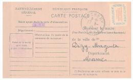 1946 MARNE Mairie De CUCHERY. Carte De Ravitaillement Général. CP + Timbre Franchise.   / 127 - Postmark Collection (Covers)