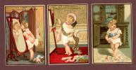 Paris, Au Lion D'Or, Lot De 3 Jolies Chromos Dorées, Fillette Devant Son Miroir, Poupée Et Cachant Un Objet Sous Sa Robe - Trade Cards