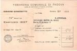 RICEVUTA PAGAMENTO Servizio Acquedotto Tesoreria Comunale Di Padova - 1937 - Italia