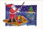 Père Noël En Radeau Nathalie Palous AL4 - Altre Illustrazioni