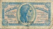 ESPAGNE ESPANA Ministerio De Hacienda 1937 50 Centimos - [ 5] Department Of Finance Issues