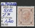 "1.9.1890 - FM/DM ""Kaiserkopf n. links"" 2 Kreuzer braun - ** postfrisch m. leichtem Falzabdruck - siehe Scan  (51Eo)"