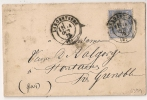 SAGE 25C Outremer, Centrage Parfait, Type 17 LARGENTIERE, Ardèche Sur Enveloppe. - 1876-1898 Sage (Type II)