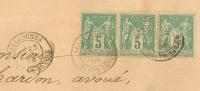 Bande 3 SAGE, 5C Vert , SALLANCHES Haute Savoie Sur DEVANT D'enveloppe. - 1876-1898 Sage (Type II)