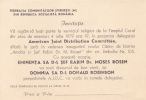 Romania - Judaica  - Rabin Dr. Moses Rosen - Announcements
