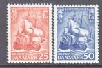 DENMARK  327-8   *    SAILING  WAR  SHIP - Denmark