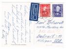 D - BRD 20.12.1950 Plochin 5 Weinachtsgrüsse Karte Nach Detroit MI USA Mit Mi.# 119 + 120 - BRD