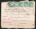 INDIA   Scott # 61 (5) On 1910 FORWARDED COVER To Colchester,Conn. USA - India (...-1947)