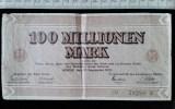 Billet, Allemagne, 100 Millionen Mark 1923 - [ 3] 1918-1933 : République De Weimar