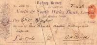 Chèque- 1895-North&South Wales Bank,Rodney Branch,Liverpool - Assegni & Assegni Di Viaggio