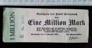 Billet, Allemagne, 1 Millionen Mark 1923 - [ 3] 1918-1933 : République De Weimar