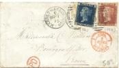 LSAU10BG- GRANDE BRETAGNE VICTORIA BICOLORE  2p+1p SUR LETTRE DE MARS 1875 POUR LA FRANCE - Briefe U. Dokumente