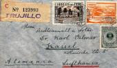 G)1938 PERU, MUNICIPALITY PALACE & NATIONAL HISTORY MUSEUM-LIMA, LAS PLAMAS, AVIATION SCHOOL, JORGE CHAVEZ, CIRCULATED - Peru