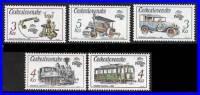 CZECHOSLOVAKIA 1988 STAMP SHOW / ANTIQUE TRANSPORT MNH ** Neuf TRAMS, TRAINS, LOCOMOTIVES, CARS, TELEPHONE - Czechoslovakia