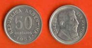 ARGENTINA 1953-4 50 Centavos Nickel Clad Steel KM24 C372 - Argentina